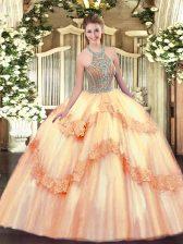 Peach Sleeveless Beading and Appliques Floor Length 15th Birthday Dress