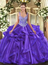 Edgy Purple Straps Lace Up Beading and Ruffles Vestidos de Quinceanera Sleeveless