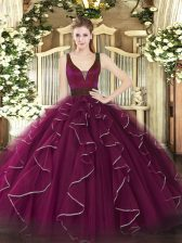 High Quality Ball Gowns Quinceanera Dresses Fuchsia Straps Tulle Sleeveless Floor Length Zipper
