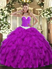 Purple Ball Gowns Sweetheart Sleeveless Organza Floor Length Lace Up Appliques and Ruffles 15 Quinceanera Dress