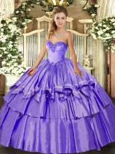 Sweet Lavender Lace Up Quinceanera Dress Beading and Ruffled Layers Sleeveless Floor Length