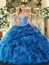 Low Price Blue Sweetheart Neckline Beading and Ruffles and Pick Ups Sweet 16 Quinceanera Dress Sleeveless Lace Up