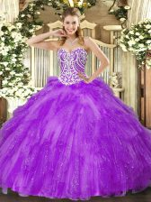 Lavender Tulle Lace Up Sweet 16 Quinceanera Dress Sleeveless Floor Length Beading and Ruffles