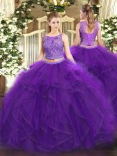 Sleeveless Beading and Ruffles Lace Up Sweet 16 Dresses