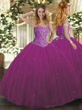 Custom Design Tulle Sweetheart Sleeveless Lace Up Beading 15th Birthday Dress in Fuchsia