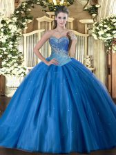 Blue Ball Gown Prom Dress Military Ball and Sweet 16 and Quinceanera with Beading Sweetheart Sleeveless Lace Up