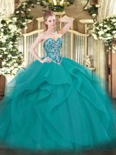 Teal 15th Birthday Dress Military Ball and Sweet 16 and Quinceanera with Beading and Ruffles Sweetheart Sleeveless Lace Up