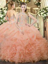 Fantastic Sleeveless Lace Up Floor Length Beading and Ruffles and Pick Ups 15th Birthday Dress