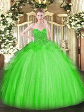 Tulle Lace Up Sweetheart Sleeveless Floor Length 15 Quinceanera Dress Lace