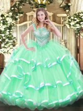 Superior Floor Length Ball Gowns Sleeveless Apple Green Quinceanera Dress Lace Up