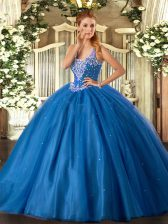 Blue Sweet 16 Dresses Military Ball and Sweet 16 and Quinceanera with Beading Straps Sleeveless Lace Up