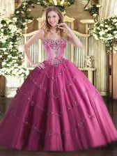 Inexpensive Ball Gowns Quinceanera Dresses Fuchsia Sweetheart Tulle Sleeveless Floor Length Lace Up