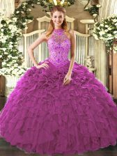 Fuchsia Organza Lace Up Quinceanera Gowns Sleeveless Floor Length Embroidery and Ruffles