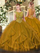 Designer Sleeveless Tulle Floor Length Zipper Sweet 16 Quinceanera Dress in Brown with Beading