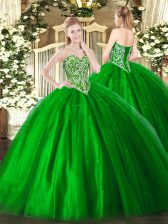 Charming Sleeveless Floor Length Beading Lace Up 15th Birthday Dress with Green