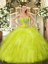 Trendy Yellow Green Ball Gowns Beading and Ruffles Sweet 16 Dresses Lace Up Organza Sleeveless Floor Length