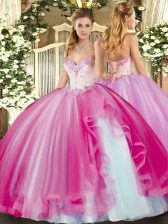 Attractive Sleeveless Beading and Ruffles Lace Up Sweet 16 Dresses