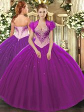 Glorious Floor Length Ball Gowns Sleeveless Eggplant Purple 15 Quinceanera Dress Lace Up