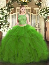 On Sale Scoop Sleeveless Lace Up Quinceanera Gown Green Tulle