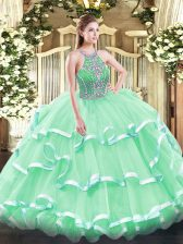 Exceptional Sleeveless Floor Length Beading and Ruffled Layers Lace Up Quinceanera Gown with Apple Green