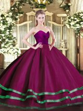 Adorable Fuchsia Ball Gowns Ruffled Layers Sweet 16 Dresses Zipper Tulle Sleeveless Floor Length
