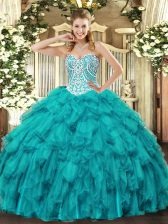 Teal Ball Gowns Beading and Ruffles Ball Gown Prom Dress Lace Up Tulle Sleeveless Floor Length