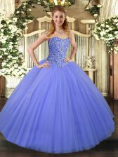 Shining Floor Length Ball Gowns Sleeveless Blue 15 Quinceanera Dress Lace Up