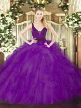 Custom Made Purple Ball Gowns Tulle Straps Sleeveless Beading and Ruffles Floor Length Zipper Quinceanera Gowns