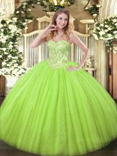 Exceptional Sweetheart Sleeveless Lace Up Quince Ball Gowns Yellow Green Tulle and Sequined
