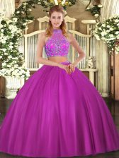 Fuchsia Two Pieces Tulle Halter Top Sleeveless Beading Floor Length Criss Cross Quinceanera Dresses