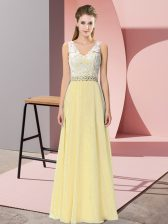 Enchanting Light Yellow Sleeveless Chiffon and Lace Backless Homecoming Dress for Prom and Party