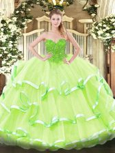 Yellow Green Sleeveless Lace Floor Length Quinceanera Dresses