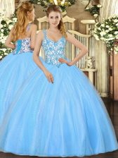 Sleeveless Floor Length Beading and Appliques Lace Up Sweet 16 Dress with Baby Blue