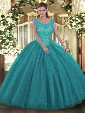 Ball Gowns Quince Ball Gowns Teal Scoop Tulle and Sequined Sleeveless Floor Length Backless