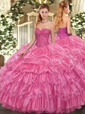 Excellent Rose Pink Organza Lace Up Vestidos de Quinceanera Sleeveless Floor Length Beading and Ruffled Layers and Pick Ups
