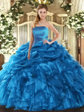 Stylish Blue Ball Gowns Organza Strapless Sleeveless Ruffles and Pick Ups Floor Length Lace Up 15 Quinceanera Dress