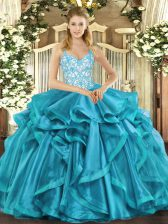 Organza Straps Sleeveless Lace Up Beading and Appliques and Ruffles 15th Birthday Dress in Teal