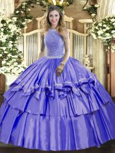 Fantastic Floor Length Lavender Quinceanera Gown Organza and Taffeta Sleeveless Beading and Ruffled Layers
