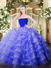 Blue Zipper Ball Gown Prom Dress Ruffled Layers Sleeveless Floor Length
