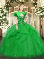 Spectacular Green Ball Gowns Beading and Ruffles Quinceanera Dress Lace Up Tulle Sleeveless Floor Length