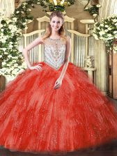Coral Red Tulle Zipper 15 Quinceanera Dress Sleeveless Floor Length Beading and Ruffles
