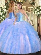 Stunning Floor Length Ball Gowns Sleeveless Aqua Blue Quinceanera Dress Lace Up