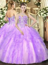 Elegant Lavender Lace Up Quinceanera Dress Beading and Ruffles Sleeveless Floor Length