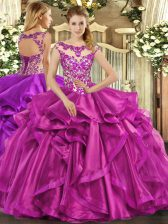 Decent Fuchsia Ball Gowns Organza Scoop Sleeveless Beading and Appliques and Ruffles Floor Length Lace Up 15th Birthday Dress