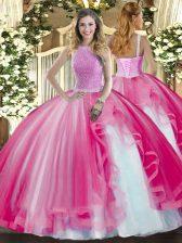Extravagant Hot Pink Sleeveless Beading and Ruffles Floor Length Sweet 16 Dress