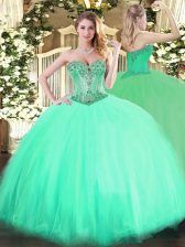 Sweet Sweetheart Sleeveless Tulle Sweet 16 Quinceanera Dress Beading Lace Up