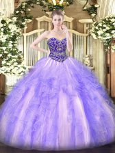Clearance Lavender Tulle Lace Up 15 Quinceanera Dress Sleeveless Floor Length Beading and Ruffles