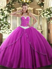 Brush Train Ball Gowns 15th Birthday Dress Fuchsia Sweetheart Tulle Sleeveless Lace Up