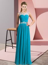 Fantastic Floor Length Teal Prom Party Dress Scoop Sleeveless Clasp Handle