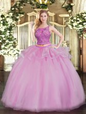 Fine Lilac Scoop Lace Up Beading Quinceanera Gown Sleeveless